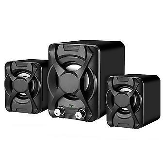 Wired Computer Subwoofer Speakers 5W+3W*2 Set Bass Loudspeaker|Computer Speakers(Black)