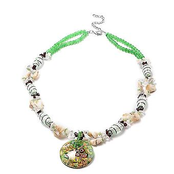 """TJC Green Murano Beads, White Crystal, Red Garnet Bead String Necklace Size 28"""""""