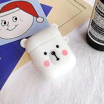 Schattige cartoon 3d siliconen oortelefoon hoesjes voor airpods 1 2 (Whitebear)