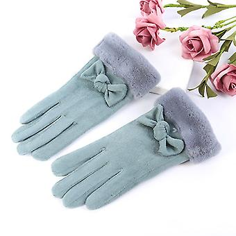 Damen Wildleder Warme Handschuhe Himmelblau