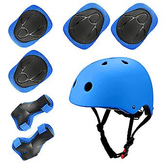 Sports Protective Gear Children's Helmet And Protective Gear 7 Piece Set (blue