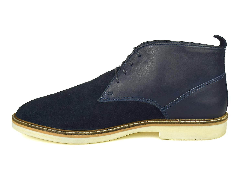 Silver Street Danemark marine cuir & daim Desert boots