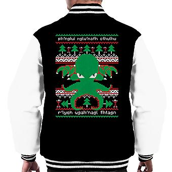 Cthulhu Cultist Christmas Knit Pattern Men's Varsity Jacket