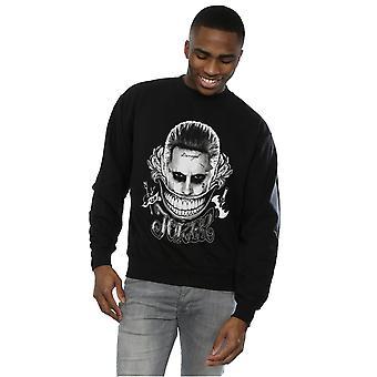 Suicide Squad Men's Joker Black And White Smile Sweatshirt
