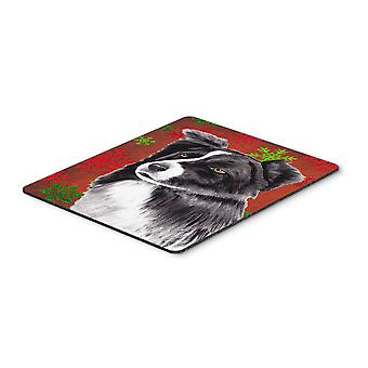Border Collie Red and Green Snowflakes Christmas Mouse Pad, Hot Pad or Trivet