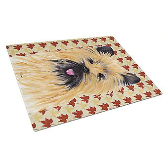 Cairn Terrier Fall Leaves Portrait Glass Cutting Board Large