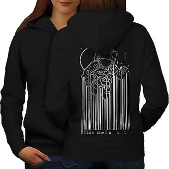 Space Astronaut Moon Geek Women BlackHoodie Back | Wellcoda