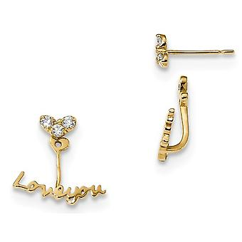 14K Yellow Gold LOVE YOU Front and Back Two Style Earrings