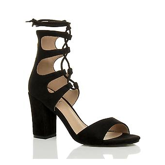 Ajvani damskie bloku wysokiej pięty ghillie klatkach koronki krawat do wyciąć peep toe buty sandały