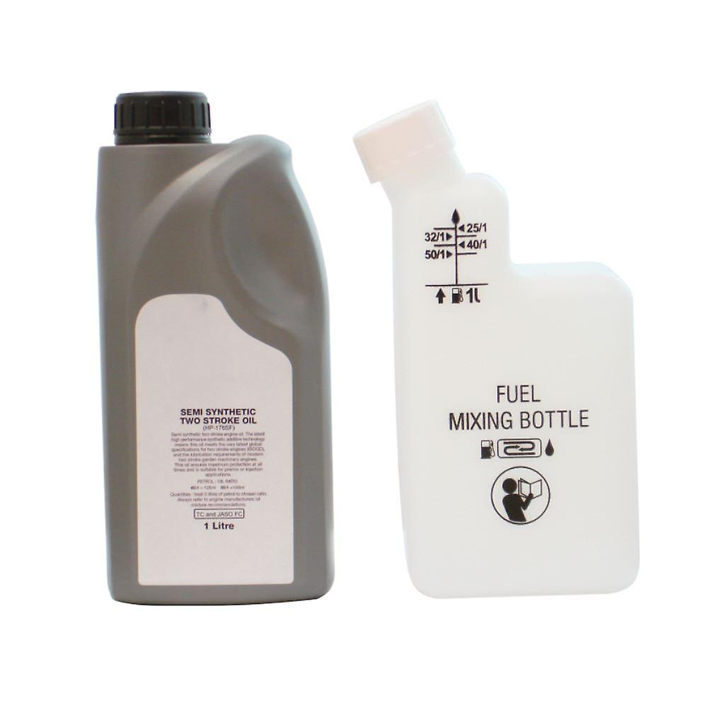 1 Litre Of 2 Stroke Oil & Fuel Petrol Mixing Bottle For Chainsaw 25:1 40:1 50:1
