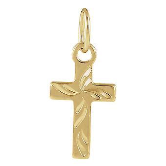 14k Yellow Gold for boys or girls Cross Pendant 10x6mm  - .2 Grams