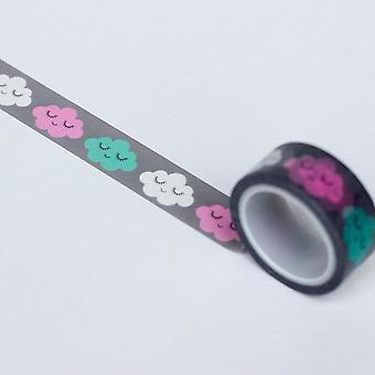 Washi Grey with Cloud Faces 5m Craft Scrapbooking Tape