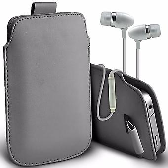 """For LG Zone 4 (5"""") - Faux Leather Pull Tab Pouch Skin Case Cover with Aluminium Earphone (Grey) by i-Tronixs"""