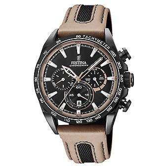 Festina Mens Black PVD placcato Watch Chrono Leather Strap F20351/1