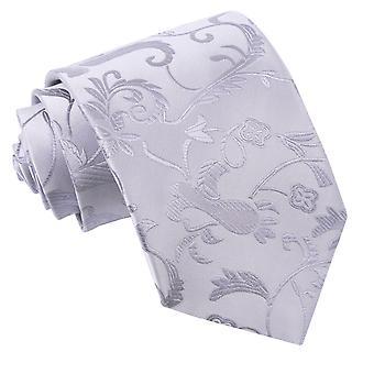 Silver blommig klassisk slips