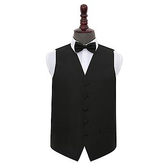 Black Solid Check Wedding Waistcoat & Bow Tie Set