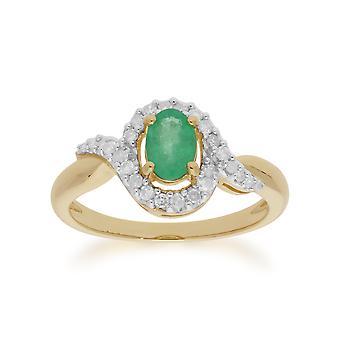 Gemondo 9ct Gelb Gold 0,47 ct Smaragd & Diamant-Ring