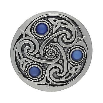 Triskele celtico fatto a mano 3 pietre di luna blu spilla peltro