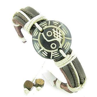Amulet skórzana regulowana bransoletka z Lucky Yin Yang BA GUA naturalne kości szczęście urok