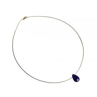 Jewelry wire chain deep blue gemstone gold plated necklace BLUE