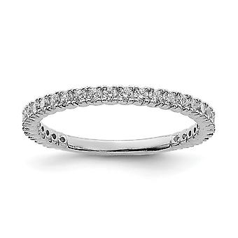 925 Sterling Silver Polished Prong set Rhodium plated Rhodium Plated With CZ Cubic Zirconia Simulated Diamond Ring Jewel