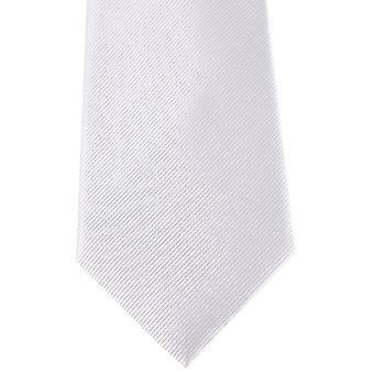 David Van Hagen Diagonal Ribbed Tie - White