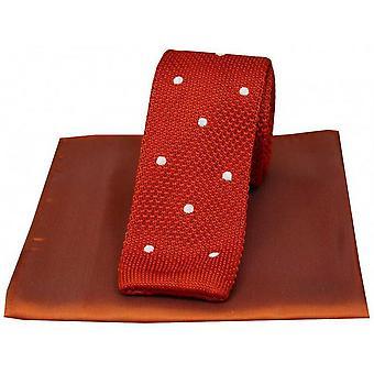 David Van Hagen Spotted Thin Knitted Silk Tie and Plain Handkerchief Set - Orange/White
