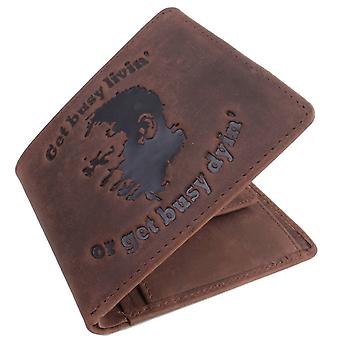 Mustard Get Busy Livin Or Get Busy Dyin Bifold and Coin Wallet - Dark Brown