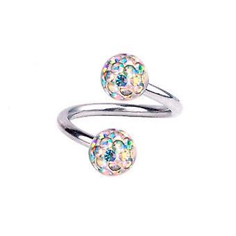 Kierre kierre lävistyksiä Titanium 1,2 mm, Multi Crystal Ball Aurora Borealis | 6-12