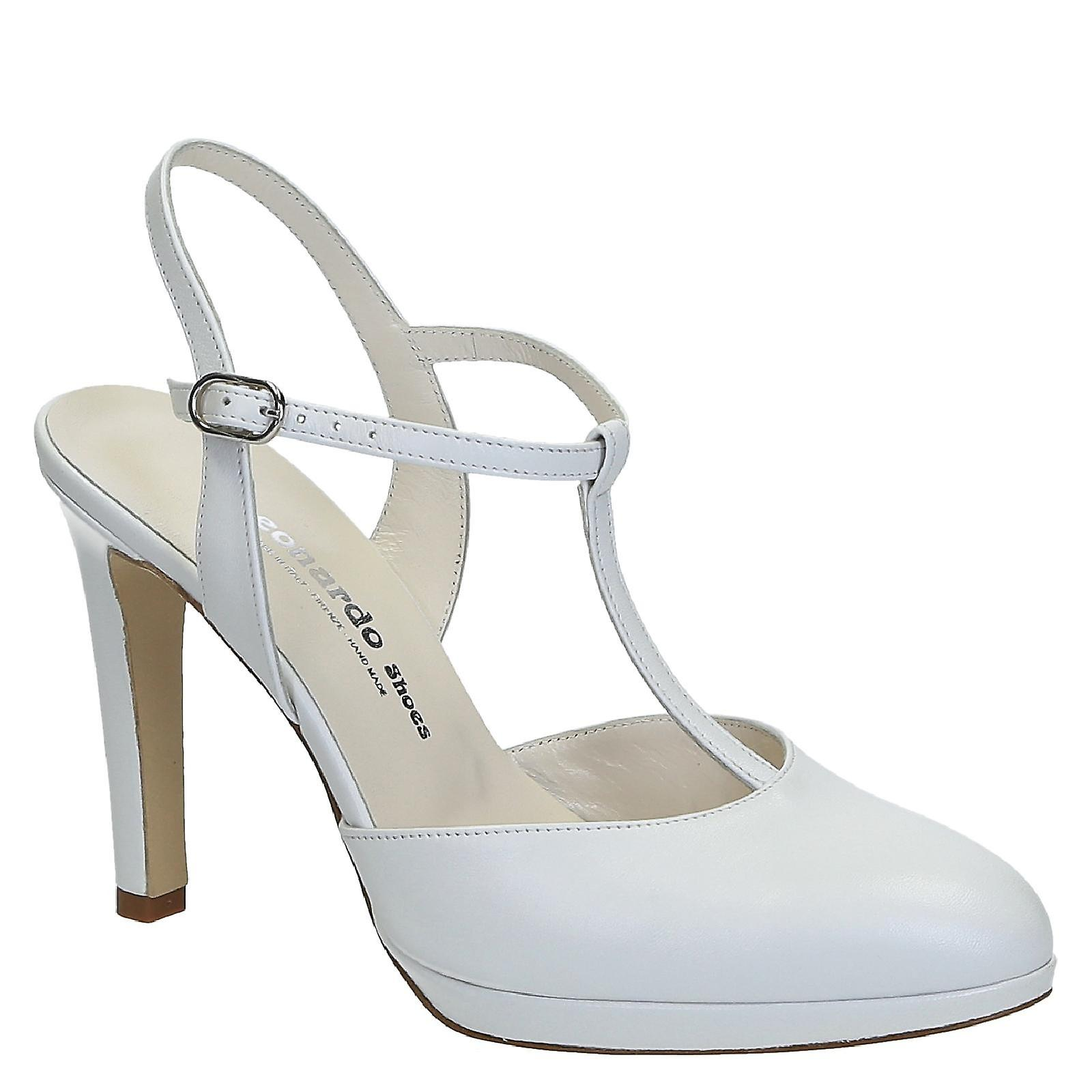 White leather bride t-bar heeled sandals with platform wPZFN