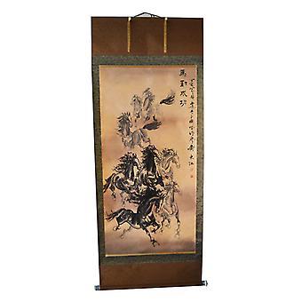 Chevaux Asie Peinture sur papier de riz, 192x76 cm