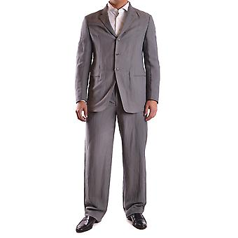 Armani Collezioni Ezbc049104 Men's Grey Cotton Suit