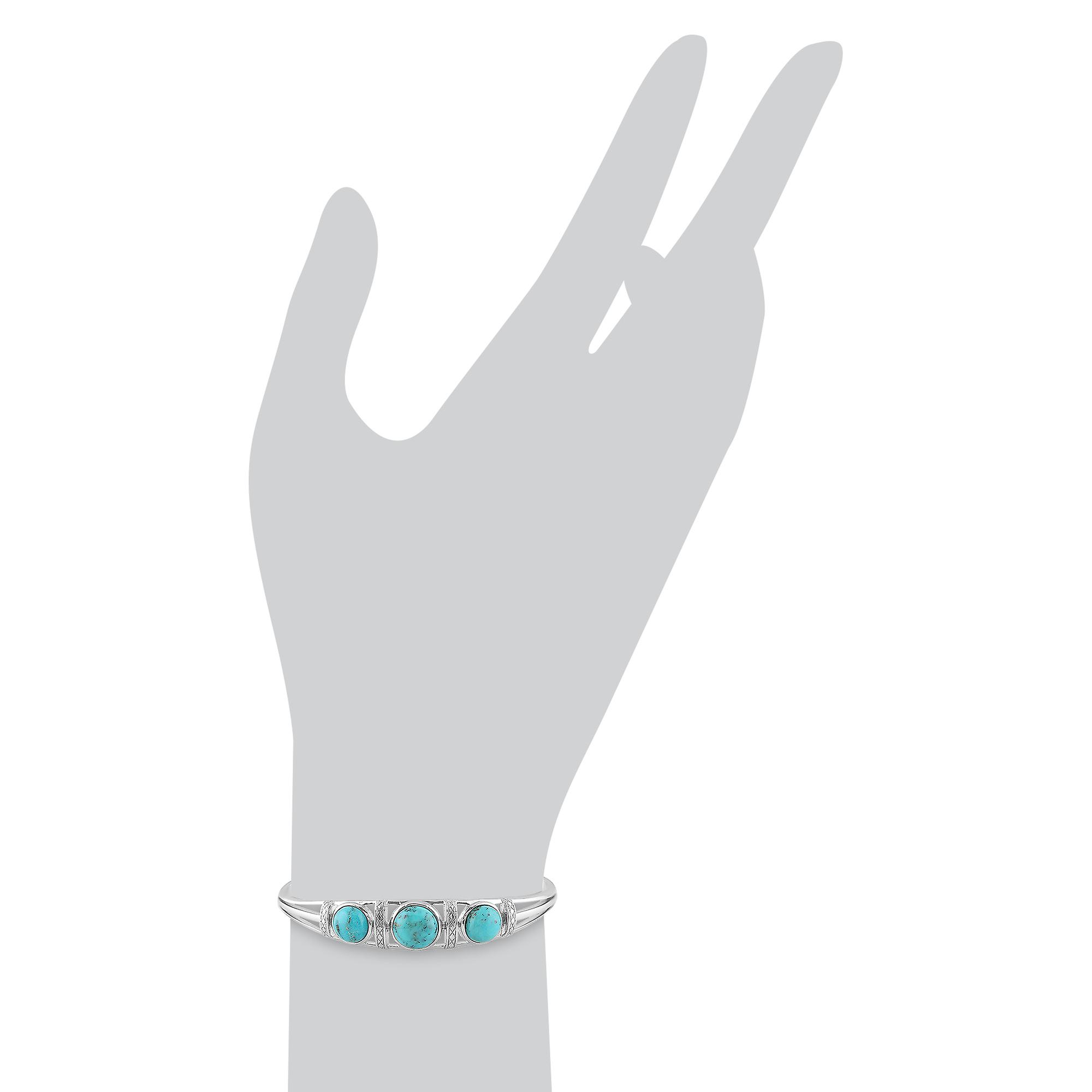 Gemondo Sterling Silver 5.00ct Turquoise Cabochon Trilogy Bangle