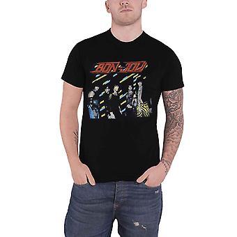 Bon Jovi T Shirt années 80 groupe Shot Band Logo nouveau officiel Mens Black