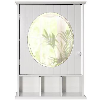 New England - Mirrored Bathroom Wall Storage Cabinet With Shelf - White