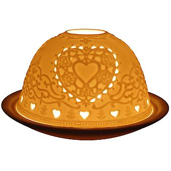 Light-Glow Hearts Lithophane Dome Tealight Candle Holder