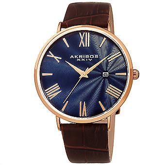 Akribos XXIV AK1041RGBU Quartz månad datum läderrem Watch