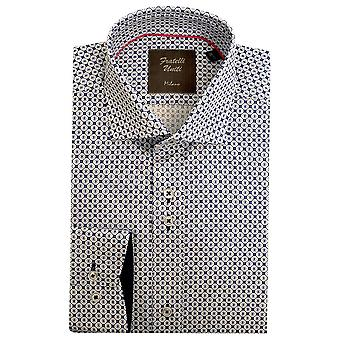Fratelli Uniti White And Blue Octagon Pattern Pure Cotton Mens Shirt