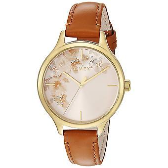 Timex Womens Crystal Bloom Tan/goud bloemen Accent lederen riem horloge TW2R66900