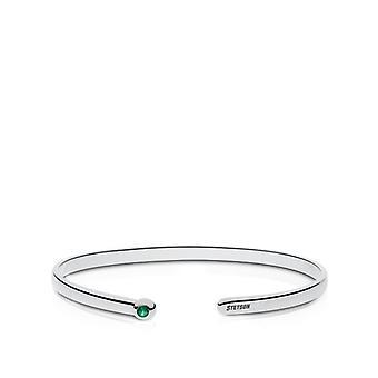 Stetson University Engraved Sterling Silver Emerald Cuff Bracelet