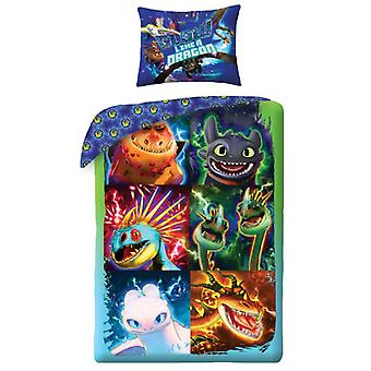 How to Train Your Dragon Glow Single Cotton Duvet Cover and Pillowcase