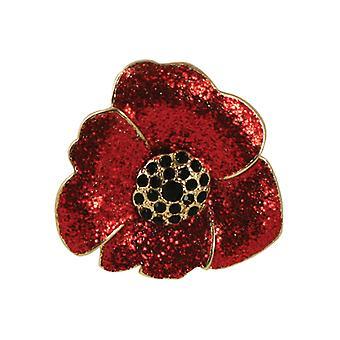 Eternal Collection Moda Red Glitter Poppy Flower Gold Tone Scarf Clip