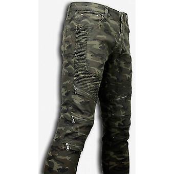 Ripped Jeans - Slim Fit Biker Jeans Zipped Knee - Green