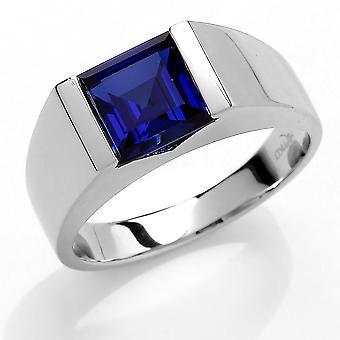 Jewelco London Men's Rhodium Plated Sterling Silver Blue Square Cubic Zirconia Bar Set Square Solitaire Signet Ring