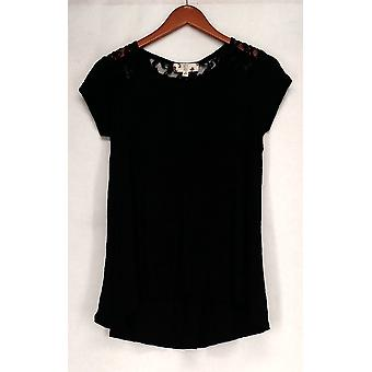 Hippie Rose Top Short Sleeve Lace Detail Knit Top Black Womens