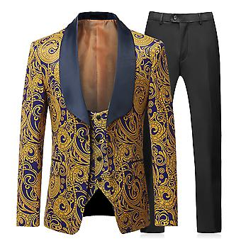 Allthemen Men's Tuxedos 3-Piece Wedding Banquet Printed Blazer&Vest&Pants