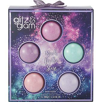 Style & Grace Glitz & Glam Galaxy Cosmos Fizzer Bomb Set - 5 x100g Bath Fizzers