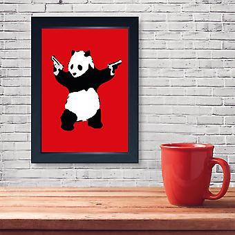 Panda de Banksy com os injetores moldados cópia parede poster da casa de banho do banheiro da parede caverna
