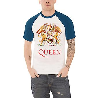 Queen T Shirt Classic Crest band logo Official Mens White Raglan baseball shirt