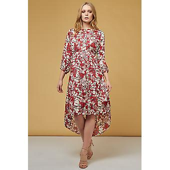 Louche Veronique Spider Lilly Print High Low Hem Dress